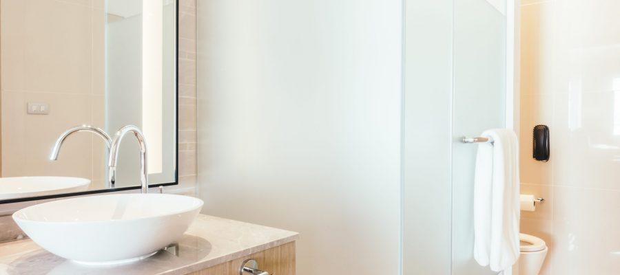 Beautiful luxury shower box decoration in bathroom interior - Vintage Light Filter